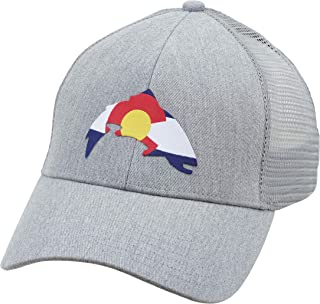 Colorado Patch Trucker Hat – Snapback Baseball Cap with Centennial State Colors in Fish Shape – Ball Cap with Mesh Back – Adjustable Trucker Cap