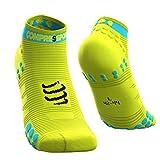 Compressport Herren V3 Sock Low Flou Yellow Laufsocke Tief, Neongelb, T2