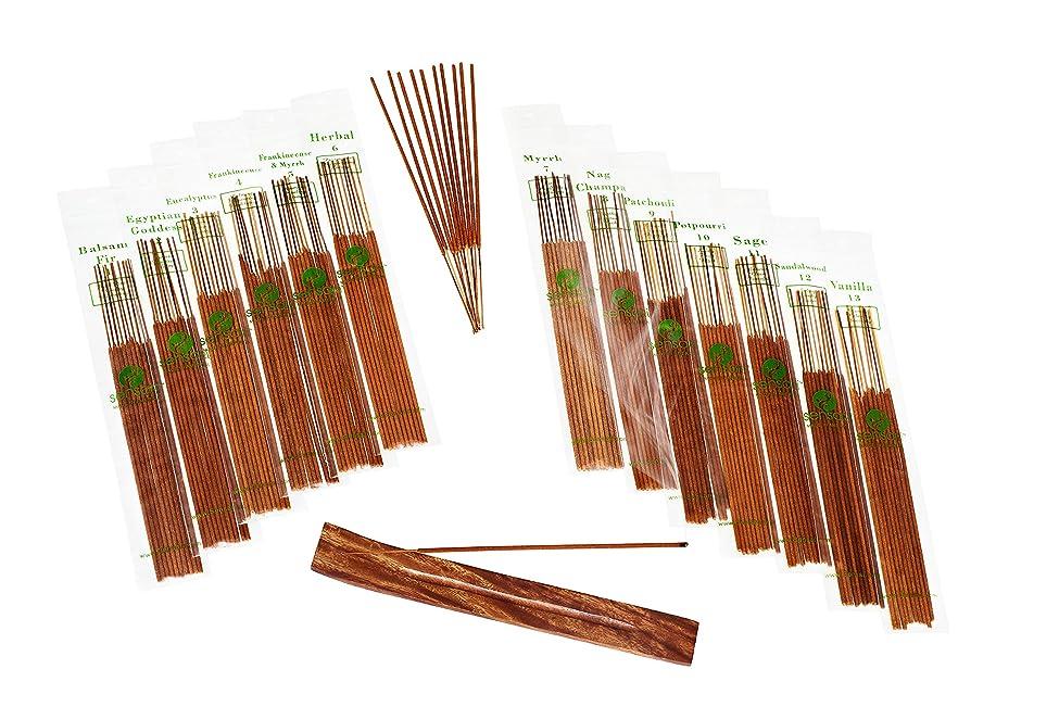 SENSARI HAND-DIPPED INCENSE & BURNER GIFT SET - 120 Stick Variety, 12 Scent Assortment - Nag Champa, Sandalwood, Patchouli, Sage, Frankincense & More