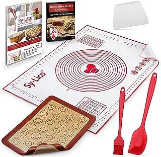 Kit Patisserie Professionnel 5 Accessoires De Cuisine - Tapis De Patisserie en Silicone 80x60 Grande Taille+ Plaque Cuisso...