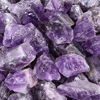 """Top Plaza Bulk Amethyst Healing Crystals Rough Stones - Large 1"""" Natural Raw Stones Crystal for Reiki Healing, Wicca, Wit"""