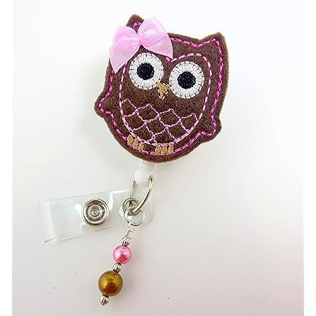 Nurse Badge Name Badge Holder Unique Retractable ID Badge Holder Felt Badge Reels Feltie Badge Clips BadgeBlooms Cute Pink Owl