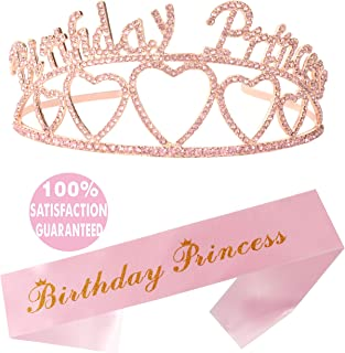 Birthday Princess Girl Sash and Tiara, Happy Birthday Party Supplies, Favors, Decorations 6th7th, 8th, 9th, 10th, 11th, 12th, 13th, 16th, 21st, 30th, 40th, 50th, 60th, 70th, 80th, 90th Birthday (Pink)