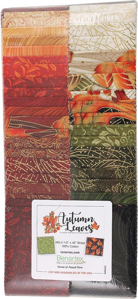 Jackie Robinson Autumn Leaves Strip-Pies 40 2.5-inch Strips Jelly Roll Benartex