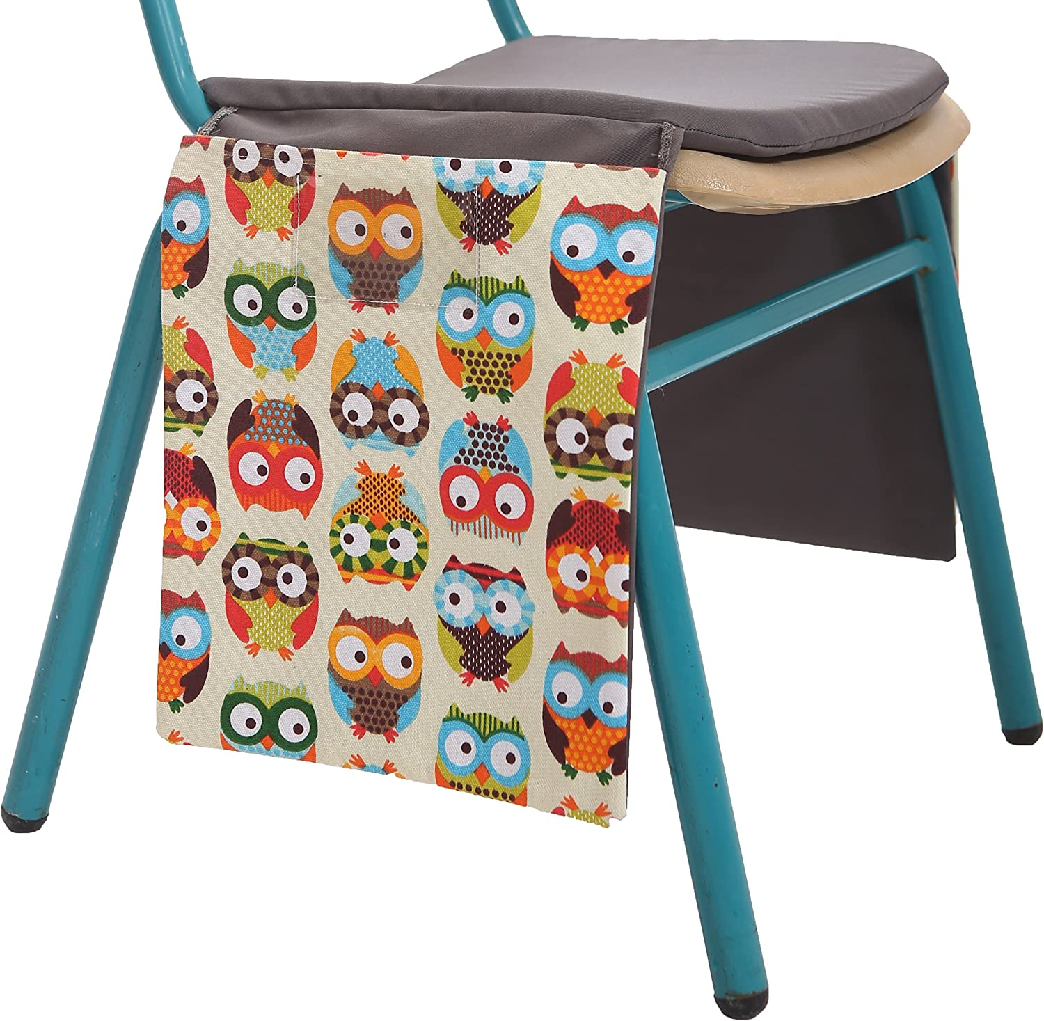 Tulli's Toys Chair Pocket Grey with Yellow Owl Pattern