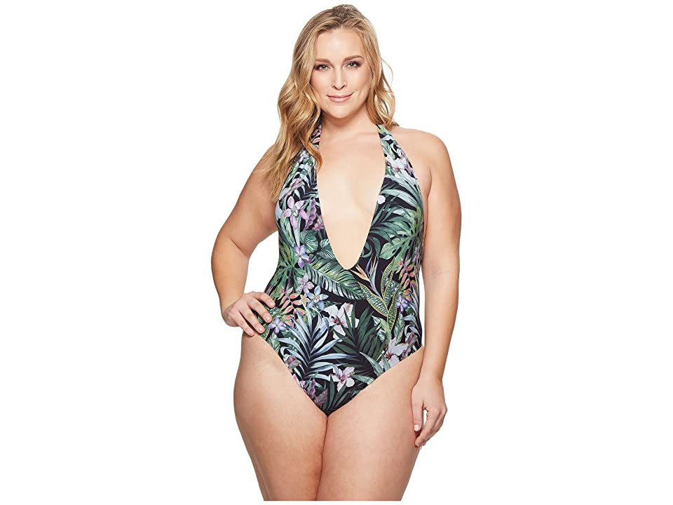 32e900f706 Sports Illustrated Plus Size Secret Garden Plunge Front Backless One-Piece  (Black) Women s Swimsuits One Piece
