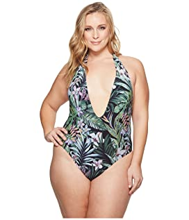 Plus Size Secret Garden Plunge Front Backless One-Piece