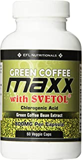 Green Coffee Maxx with Svetol® 800mg Per Capsule 30 Day Supply 60 Count Vegicaps No Fillers