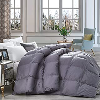 Luxurious Heavy Goose Down Comforter King Size Duvet Insert, Classic Gray, Premium Baffle Box, 1200 Thread Count 100% Egyptian Cotton Cover, 750+ Fill Power, 70 oz Fill Weight (King, Gray)