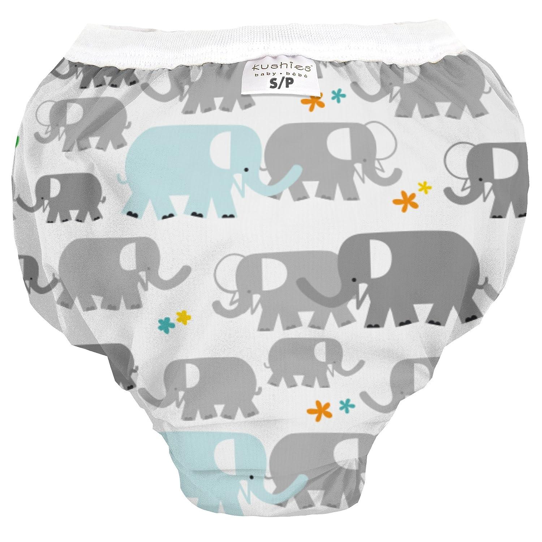Kushies Baby Waterproof Training Pant (33-38 Pounds), White Elephants, Large