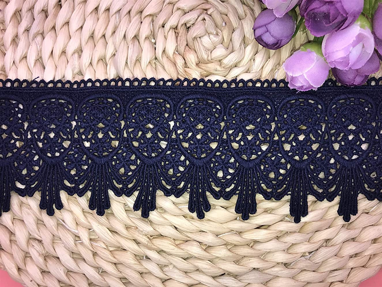 7CM Width Europe Venise Pattern Inelastic Embroidery Lace Trim,Curtain Tablecloth Slipcover Bridal DIY Clothing/Accessories.(2 Yards in one Package) (Navy Blue)