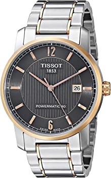 Tissot T-Classic Two-Tone Titanium Black Dial Men's Automatic Watch