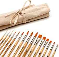 AIT Art Paint Brush Set - 15 Paint Brushes - Rounds, Flats - Handmade in USA for Trusted Performance with Oil, Acrylic, and Watercolor - Includes Canvas Brush Holder