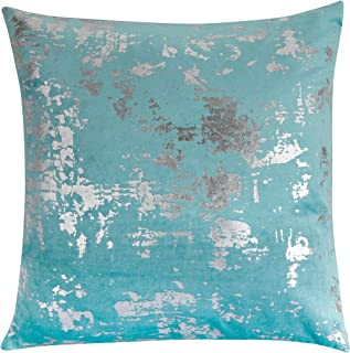 Forest & Twelfth Home Velvet Throw Pillows-Decorative Metallic Printed Throw Pillows for Living Room & Bedroom with 100% Polyester Filling-Cotton Blend Home Decor Pillows (Teal/Silver, 16 x 16)