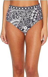 Womens Paisley Paradise High-Waist Bikini Bottoms Mare Navy Size Small