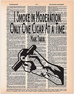 One Cigar at a Time; Mark Twain Quote; Dictionary Print Wall Art, 8x11 inches, Unframed