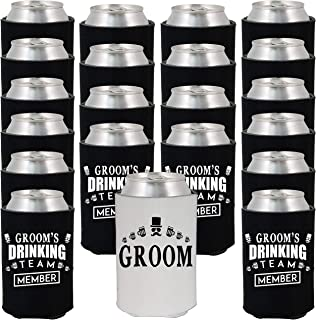 Shop4Ever Groom and Groom's Drinking Team 'Member' Can Coolie Wedding Drink Coolers Coolies (Member, Blk, 24 Pk)