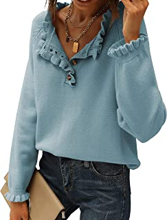 BTFBM Women's Sweaters Casual Long Sleeve Button Down Crew Neck Ruffle Knit Pullover Sweater Tops Solid Color Striped