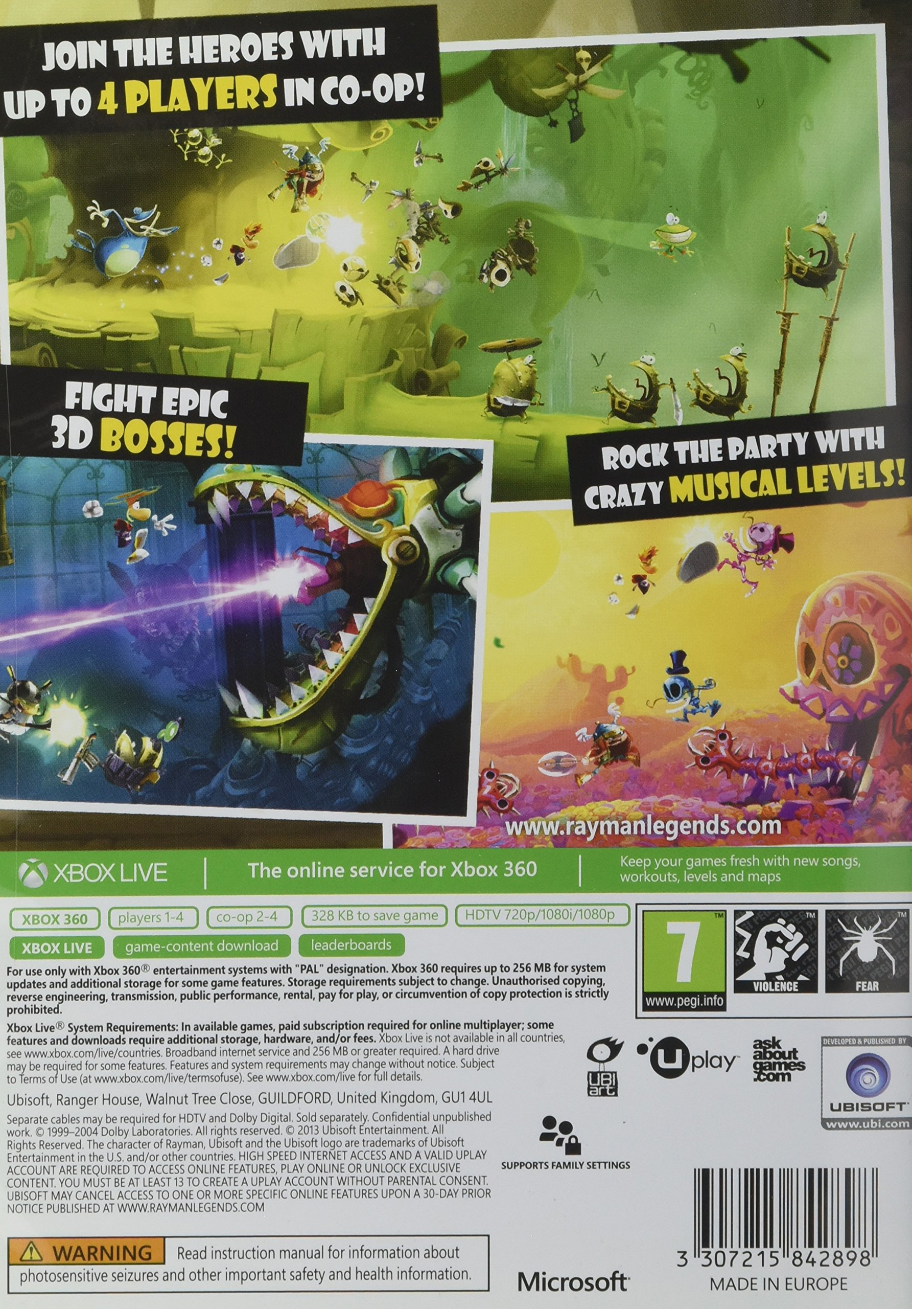 Ubisoft Rayman Legends, Xbox 360 - Juego (Xbox 360, Xbox 360 ...
