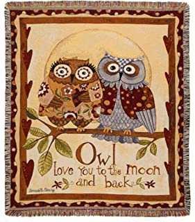 Simply Home Owl Loves You Collection Tapestry Throw Blanket USA Made