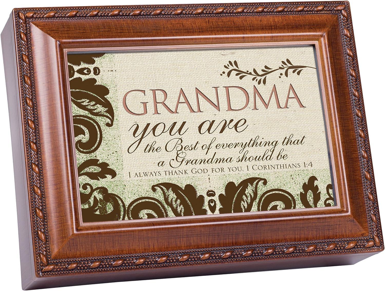 Cottage Garden Grandma Woodgrain Music Box/Jewelry Box Plays How Great Thou Art