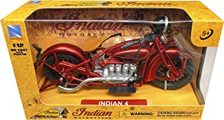 New-Ray 1930 Indian 4 Red 1/12 Diecast Motorcycle Model 58223