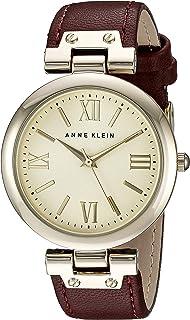 Anne Klein Women's AK/1856CHBY Gold-Tone and Burgundy Strap Watch