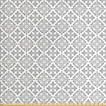 Ambesonne Grey Fabric by The Yard, Antique Victorian Floral Retro Patterns in Modern Graphic Print Old Fashioned Art, Decorative Fabric for Upholstery and Home Accents, 5 Yards, Gray White