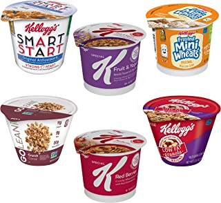 Kellogg's Cereal in a Cup Variety Pack - Nutritional Charge Bundle, 6 Flavors, Portable Breakfast, Bulk Size (Pack of 60 Cups)