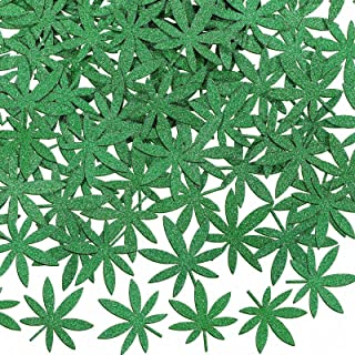 100 Pieces Green Glitter Weed Leaf Paper Confetti Green Leaf Confetti Pot Leaves Paper Confetti for 420 Birthday Party Wed...