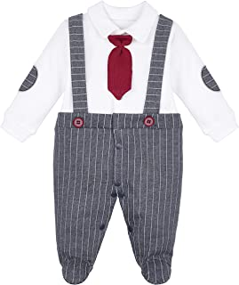 Lilax Baby Boy Newborn Gentleman Stripe Outfit Footie with Tie 2 Piece Set