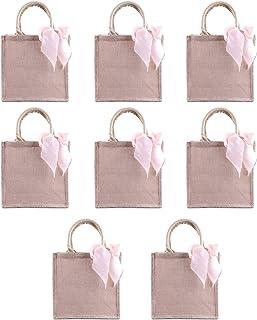Bulk Bridesmaid Gift Bag Burlap Tote with Blush Ribbon, Wedding Welcome Bag for Favors Bachelorette Party Beach Travel Jute Shopping Bag