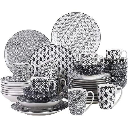 vancasso, série Haruka, 40pcs Service de Table Porcelaine 8pcs pour Assiettes Plate, Assiette Creuse, Assiette à Dessert, Bols à Miso, Mug Tasse à Thé, Style Japonais Asiatique