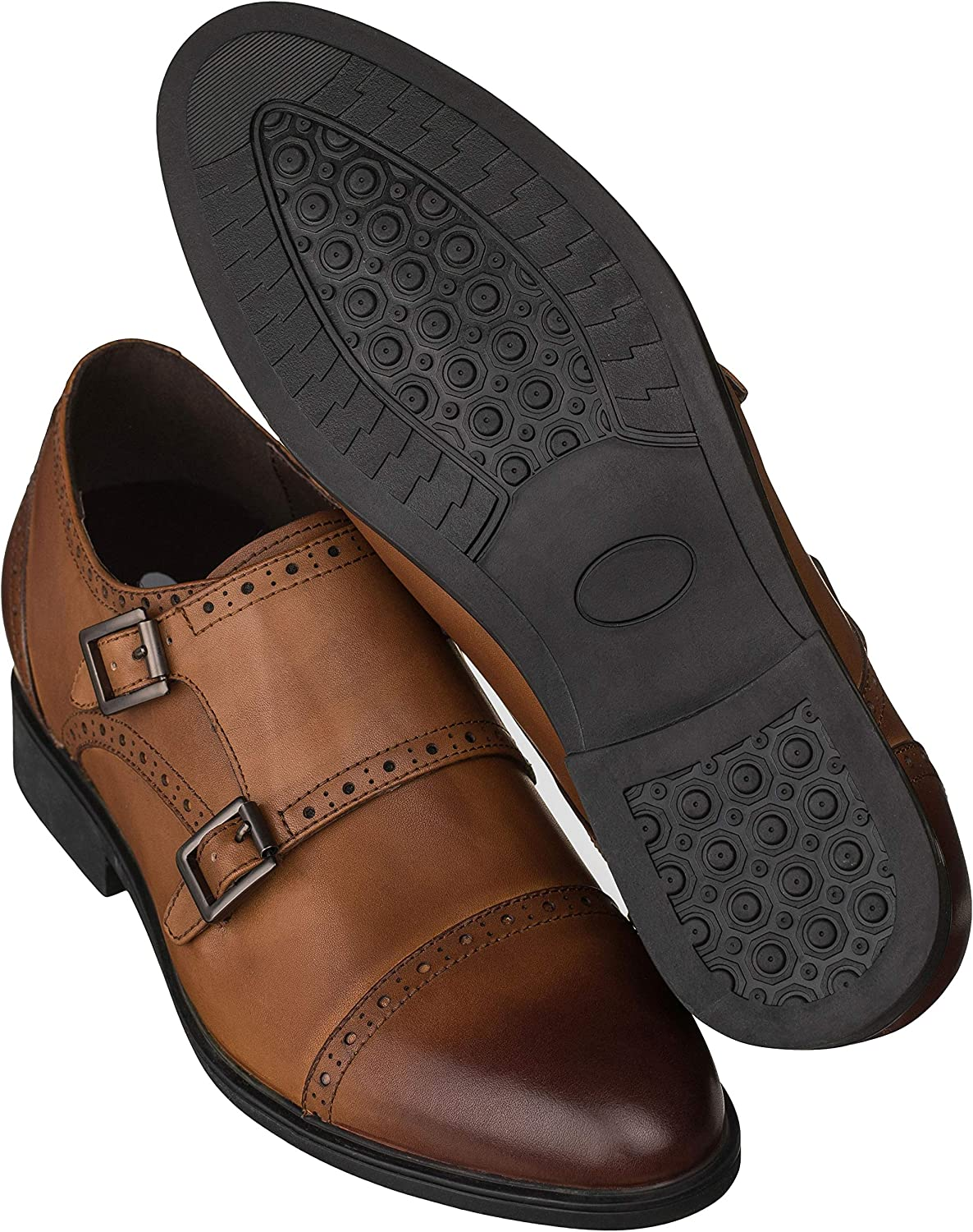 CALTO Men's Invisible Height Increasing Elevator Shoes - Leather Slip-on Ultra Lightweight Dress Loafers - 2.8 Inches Taller