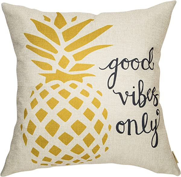 Fahrendom Good Vibes Only Watercolor Pineapple Motivational Sign Inspirational Quote Cotton Linen Home Decorative Throw Pillow Case Cushion Cover With Words For Sofa Couch 18 X 18 In