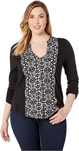 Printed Button Front Top