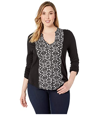 Lucky Brand Printed Button Front Top (Black Multi) Women