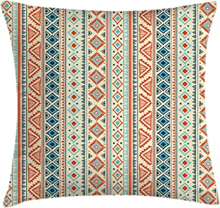 Ambesonne Tribal Throw Pillow Cushion Cover, Mexican Style Aztec Patterned Retro Hand Drawn Design Abstract, Decorative Square Accent Pillow Case, 20