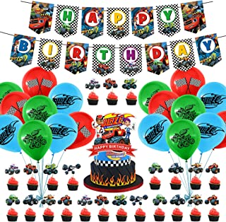 Blaze and the Monster Machines Party Supplies,Banner - Cake Topper-Invitation card- Balloons for Kids Party Decorations