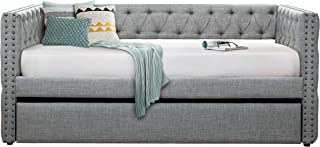 Homelegance Adalie Fabric Upholstered Daybed with Trundle, Twin, Gray