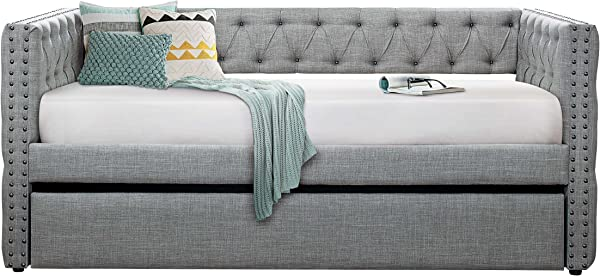 Homelegance Adalie Fabric Upholstered Daybed With Trundle Twin Gray