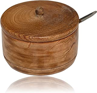 Decorative Rustic Wooden Sugar Bowl With Lid Wide Mouth Candy Treat Jar Spice Jar Holder Condiment Nuts Serving Bowl Pot Salt Spice Herb Loose Leaf Tea Storage Container Novelty Home & Kitchen