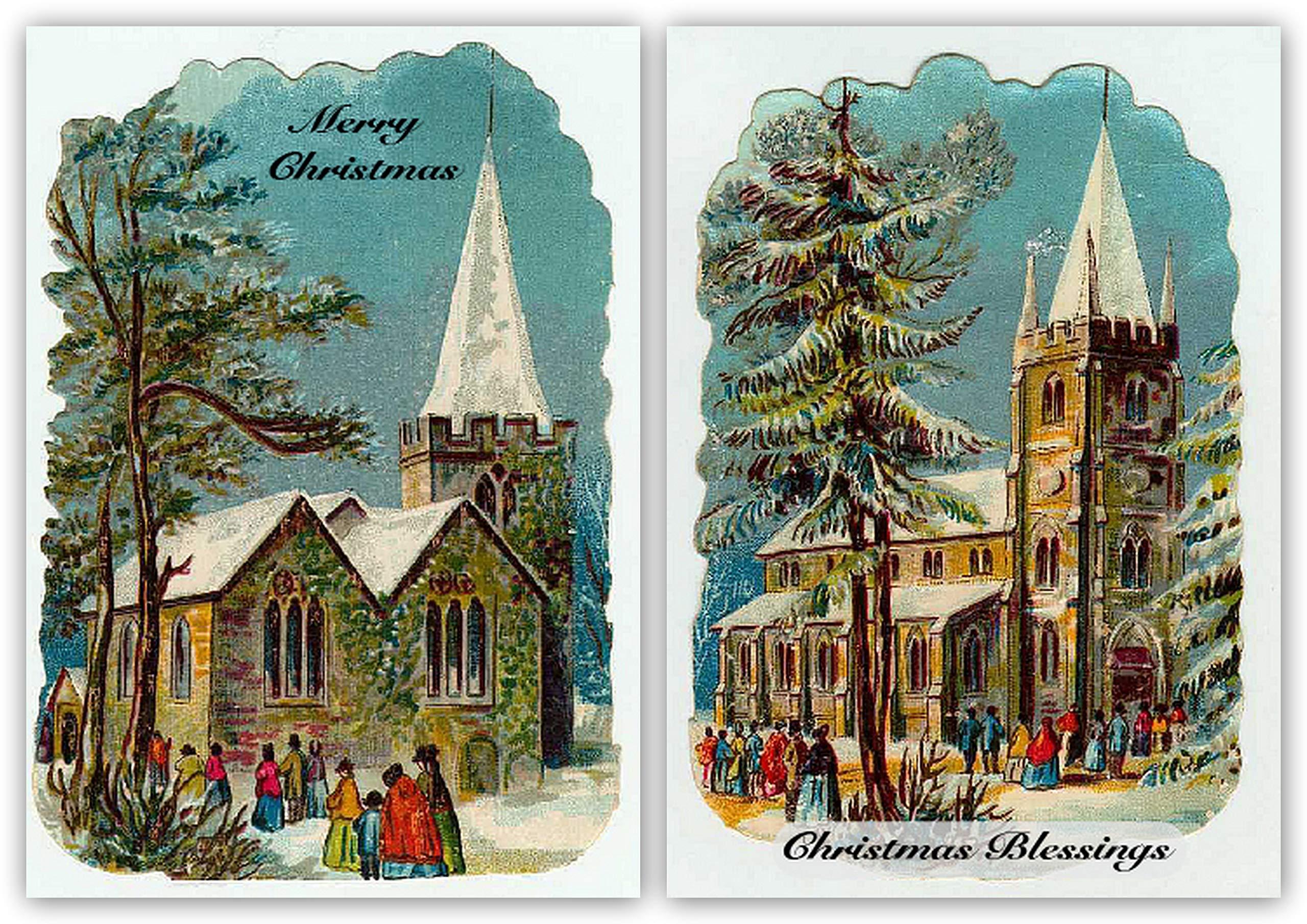 Pack de 10 tarjetas de Navidad vintage religiosa de Reproducción Retro. Iglesia .Diseños: Amazon.es: Hogar