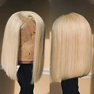 BEEOS Blonde Wig 613 Lace Front Wigs Human Hair for Black Women, 180% Density 13X6 Short Bob Wig Pre Plucked Natural Hairline with Transparent Lace Brazilian Remy Hair 12 Inch