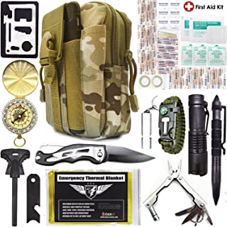 EVERLIT Survival Kit, 80-in-1 Outdoor Gears Tactical Tools Emergency Kit, First Aid Kit, Flashlight, Survival Bracelet, Emergency Blanket, Tactical Pen, for Camping, Hiking, Hunting