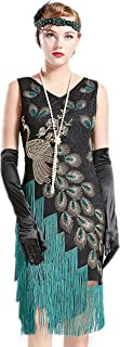 Coucoland 1920s Kleid Damen Pfau Flapper Charleston Kleid V Ausschnitt Great Gatsby Motto Party Damen Fasching Kostüm Kleid