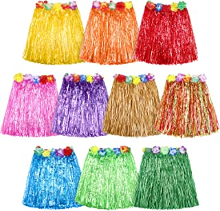 10 Pieces Elastic Hawaiian Hula Dancer Grass Skirt Grass Hibiscus Flowers Birthday Tropical Party Decorations Favors Supplies