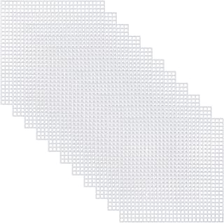 Pllieay 30 Pieces 7 Count Plastic Mesh Canvas Sheets for Embroidery, Acrylic Yarn Crafting, Knit and Crochet Projects (10 ...