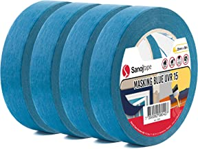 Sanojtape Blauw Maskerende Tape Pro (4-Pack) 25 mm x 50 m Professionele Maskeringstape UV-Bestendig tot 14 Dagen Buiten   ...