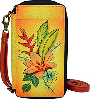 Smart Phone Case & Wallet - Genuine Leather - Tropical Bouquet Yellow